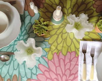 """Oilcloth BY THE YARD Fabric Bold Floral 54"""" wide Laminated Linen Original Design Pink Green Brown"""