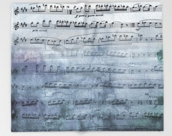 Music Throw Blanket  - Almost Gray music blanket throw  - beautiful steel gray watercolor, decor, blue, cozy