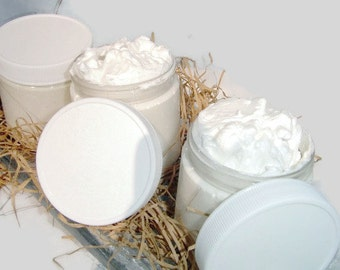 Whipped Shea Body  Butter - Unscented - 4 ounce - Vegan friendly.Body butter with coconut oil, whipped body butter, body butter