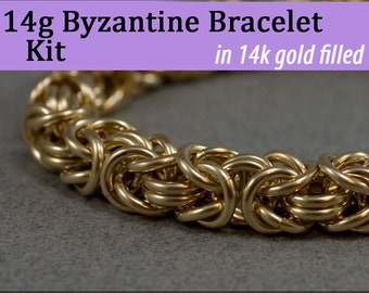 14g Byzantine Bracelet Chainmaille Kit in Gold Fill