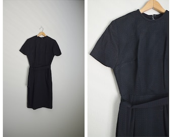 vintage 50s 60s black waffle shift simple evening cocktail day dress -- womens small-- 34-26-39