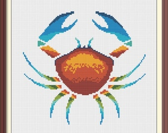 Crab Counted Cross Stitch Pattern PDF Chart Colorful Tribal Pattern Instant Download