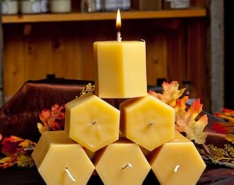3 x 6 inches  Hexagonal Pillar Beeswax Candle