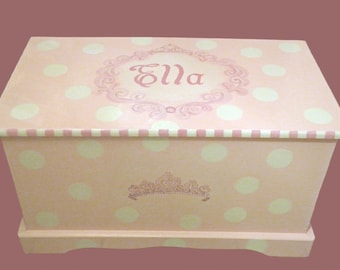 Princess toy box with Polka Dots and Tiara Custom Designed, kids furniture, monogrammed, art and decor