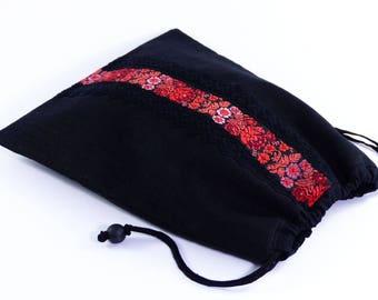 Sac à coulisse avec dentelle et ruban fleurs, doublure coton, cordon serrage coton, rangement lingerie, fourre-tout femme