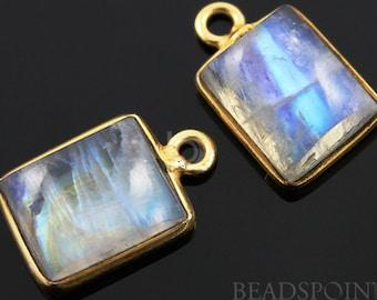Natural Rainbow Moonstone Faceted Bezel Emercut, Gold Vermeil , Incredible Blue Fire,10x18mm,1 Piece, (RNM10x18)