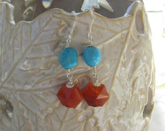 Carnelian Turquoise Sterling Silver Dangle Earrings