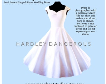 Tea Length!  Long White WEDDING Dress, handmade by Hardley Dangerous Couture, 1950s Style Pin Up Party Dress
