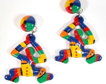 Ohrclips große Clips Mann tanzend bunt handbemalt 8x6cm SoHo Köln 1992
