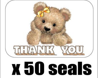 "50 Cute Bear Thank You Envelope Seals / Labels / Stickers, 1"" by 1.5"""
