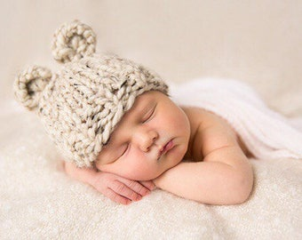 Bear Hat Knit, Newborn Hat Baby, Photo Prop Bear, Photography Props Baby Hat Oatmeal- Violet Hat