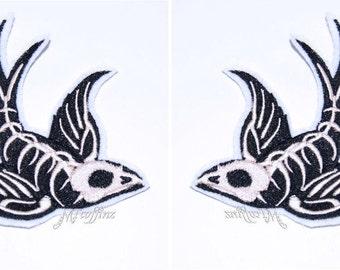 Gothic Swallow Bird Skeleton Rockabilly Iron On Embroidery Patch MTCoffinz - Mirror Pair