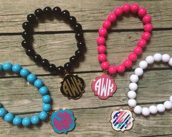 Monogrammed Bead Bracelet / Monogrammed Bracelet / Monogrammed Quatrefoil / Initial Bracelet / Monogrammed Jewelry / Monogram Bracelet