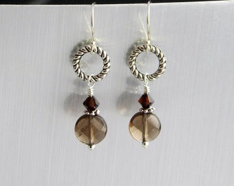 Smokey Quartz and Crystal Earrings - Silver Hoop Earrings - Smokey Quartz Dangle Earrings - Chocolate Brown Jewelry - Faceted Smokey Quartz