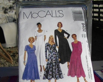 1998 McCall's Dress Pattern 9402  size 16 1/2 to 20 1/2 Princess seamed, ankle lenght dress.