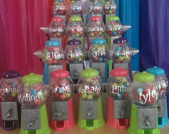 Personalized Gumball Machine - Birthday Party Favor - Red Only - 4 LEFT!