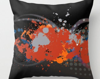 Abstract Throw Pillow, Black Red Cushion, Throw Pillow Cover, Decorative Pillow, Cushion and Insert, Paint Splatter Cushion, 16x16 18x18