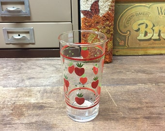 Vintage Strawberry Anchor Hocking Glass Tumbler