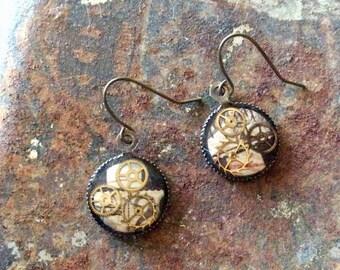Vintage watch gear earrings