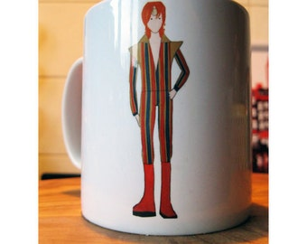 Ziggy Stardust a.k.a. David Bowie drawing illustrated mug