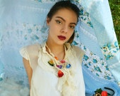 Colorful Oya Flowers necklace - peacock oya necklace, crochet oya,crocheted oya necklace,bohemian necklace,mori necklace,romantic,bohemian