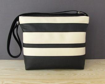Black And Beige Vegan Messenger Bag | Black And Beige Vegan Bag | Vegan Shoulder Bag | Faux Leather Crossbody Bag | Black Vegan Bag