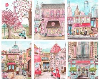 Travel Theme Nursery, Set Of 6, Personalized Nursery Art For Girls Bedroom, Pink Paris, London, NYC, Rome, Florence, Custom Name On 4 Prints