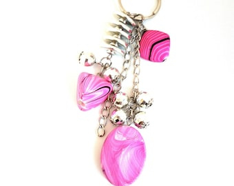 Handbag charm / Keychain with charms and pink beads