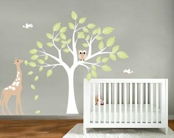 Kids tree vinyl wall art decal with birds owls giraffe