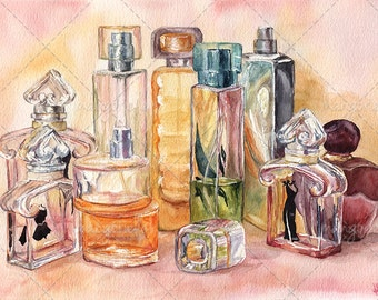 Still life with Eau de Parfum  - Original Watercolor & Print