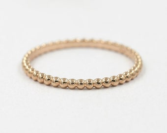 1.6mm Gold Bead Ring.Beaded Ring.Thin 14K Solid Gold Ring.Stackable Ring.Dainty Gold Ring.Minimalist Ring.Simple Wedding Band.Rose Gold Ring