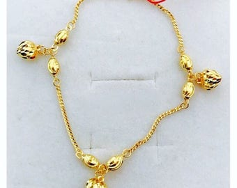 22k solid 916 gold puffy hearts charms bracelet