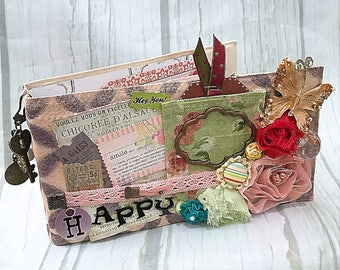 HAPPY Canvas Covered Maya Road Chipboard Binder Scrapbook Mini Album