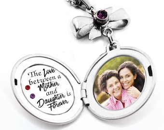 Mother Daughter Necklace, Personalized Mother Daughter Necklace, Engraved Quote, Daughter Photo Necklace, Mother Photo Necklace