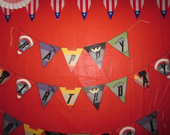 Avengers Happy Birthday Banner/Bunting with Name - Personalized Printable