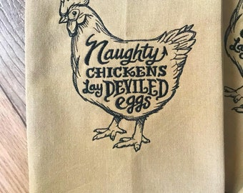 Farmhouse Decor, Chicken Embroidered Kitchen Towel, Gift for Her, Farm Style Home Decor, Country Home Gift, Funny Chicken Gift, Linen Towel