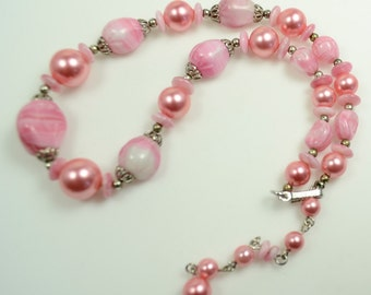 Trifari Necklace—Pink Faux Pearls and Art Glass Beads/pre 1955