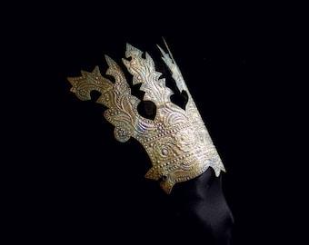 Antique Gold Ethnic Tribal Headdress, Male Dance Crown, Dark Prince, Exotic Princess, Ceremonial Ethnic Headpiece, Exotic Dancer