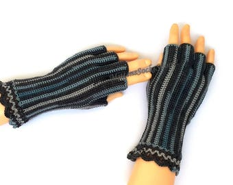 Gray Blue Half Finger Gloves Ladies Half Finger Gloves Crochet Half Finger Gloves Wrist Warmers Hand Warmers Arm Warmers Fingerless Gloves