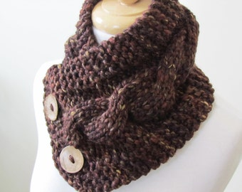 """Knit Neck Warmer, Cable Knit Scarf,  Chunky Warm Winter Scarf in Sequoia 6"""" x 25"""" - Coconut Shell Buttons Ready to Ship - Direct Checkout"""
