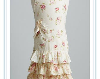 apron with floral frills .. playtime apron. little girls apron.