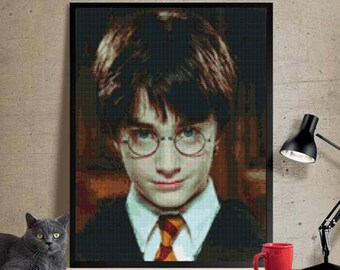 Harry Potter Cross stitch pattern modern.Harry Potter cross stitch DPF pattern,Patrón Harry Potter punto de cruz moderno  PDF(#62)