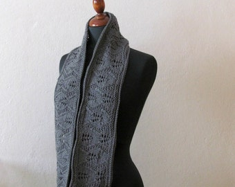 Cowl  grey lace - infinity scarf  - cozy gift - soft merinos lace style - woman loop scarf - mother day gift