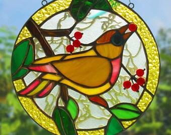 Stained glass bird Round Window panel Glass art Suncatcher Garden decor Multicolor Tiffany