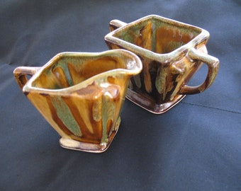 Very 60's Creamer and Sugar Set....Browns and Greens...........Vintage Set