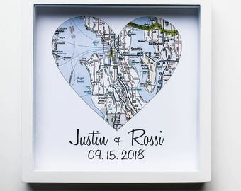 Wedding Gifts for Couples Map Art Print FRAMED Unique Wedding Gift Any Location Available Wedding Present Gift for Bride Wedding Gift Ideas