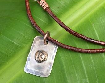 Raidho Rune Necklace Pendant - Rustic Mixed Metal Customizable Elder Futhark Rune Jewelry - Sterling Silver & Bronze - Unisex Viking Jewelry