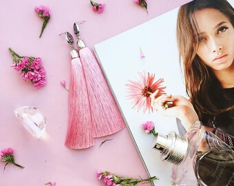 Rose Tassel Rodium Plated Earrings, Pink Silk Earrings, Textile Earrings, Tassel Jewelry,  Fringe Earrings, Boho