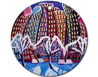 Winter City NYC Scene Folk Art Fun Whimsical Colorful Round Porcelain Ornament