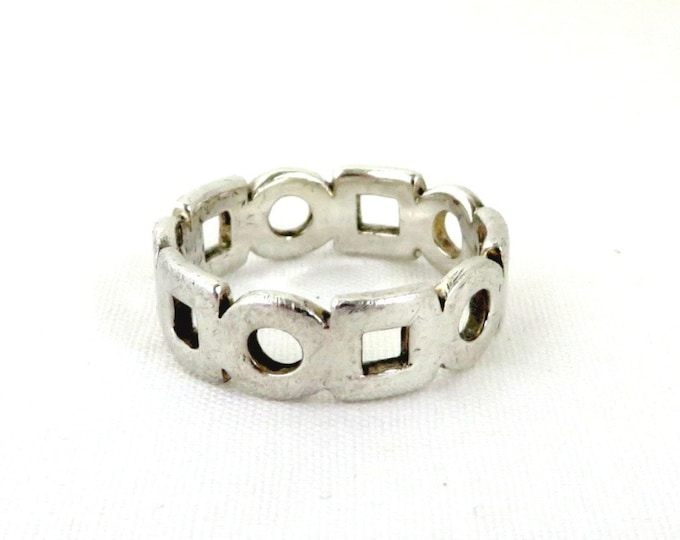 Vintage Sterling Silver Ring, Circles Squares Ring, Boho Hippie Jewelry, Openwork Ring, Unisex Ring, Gifts